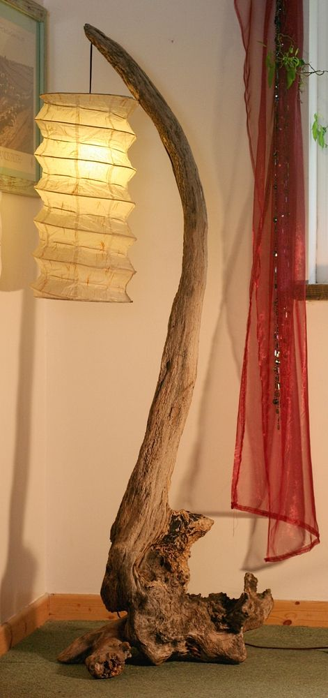 Driftwood Lamp, Large, Floorstanding lamp, Drift Wood Cornwall UK. 175 cm tall.