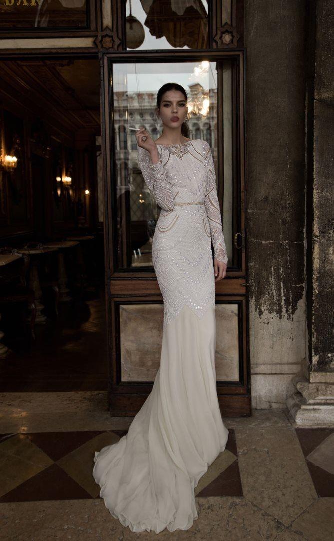Luxury Jeweled Long Sleeve Wedding Dress 2015
