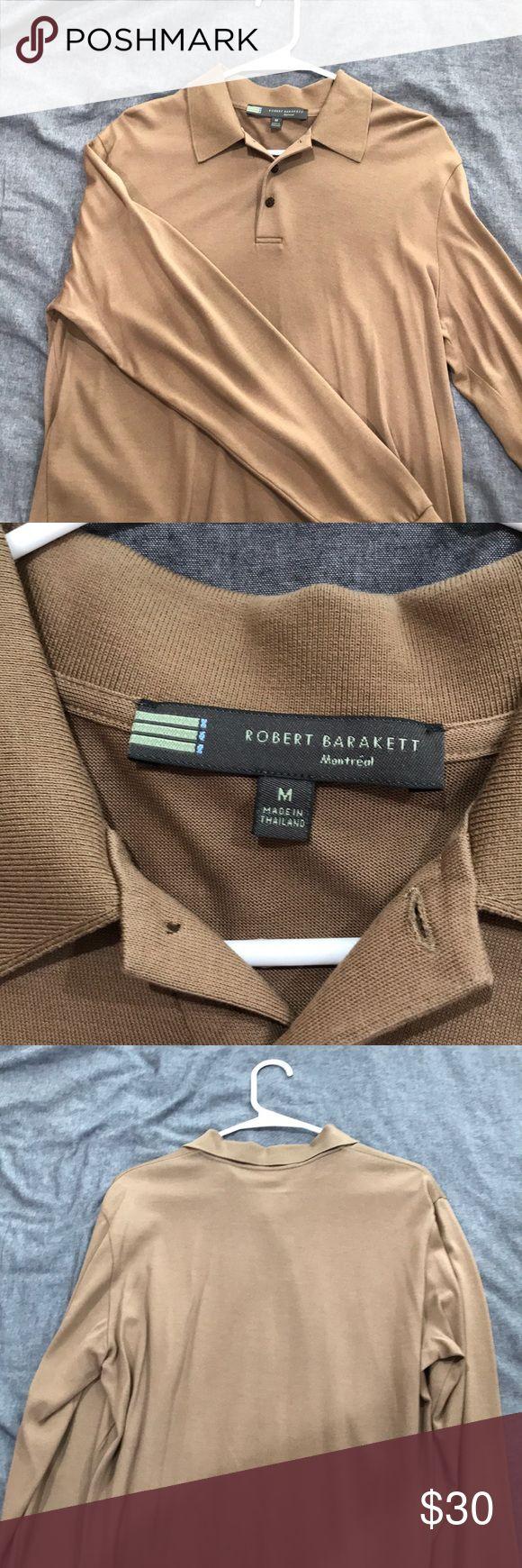 Robert Barakett long sleeve polo shirt Long sleeve polo Extremely soft, silk like material Size medium Tan color Robert Barakett Shirts Polos