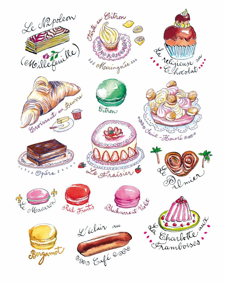 French Pastries! by Lucile Prache   #LucilePrache #foodillustration #food #illustration #TrafficNYC #French #Pastries #desserts