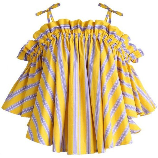 Chicwish Jaunty Stripe Cold-shoulder Top in Yellow (1,960 PHP) ❤ liked on Polyvore featuring tops, yellow, stripe top, cut shoulder tops, cut-out shoulder tops, open shoulder top and cut out shoulder top