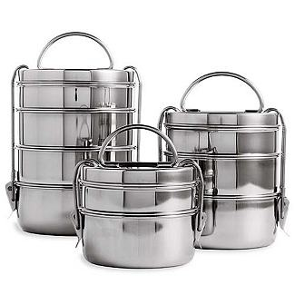 "Everyone can use a ""tiffin"" lunch box and this set comes with three in different sizes for different types of meals or you could separate them and give them as a gift to three different people. The rage in Britain after originating in India."
