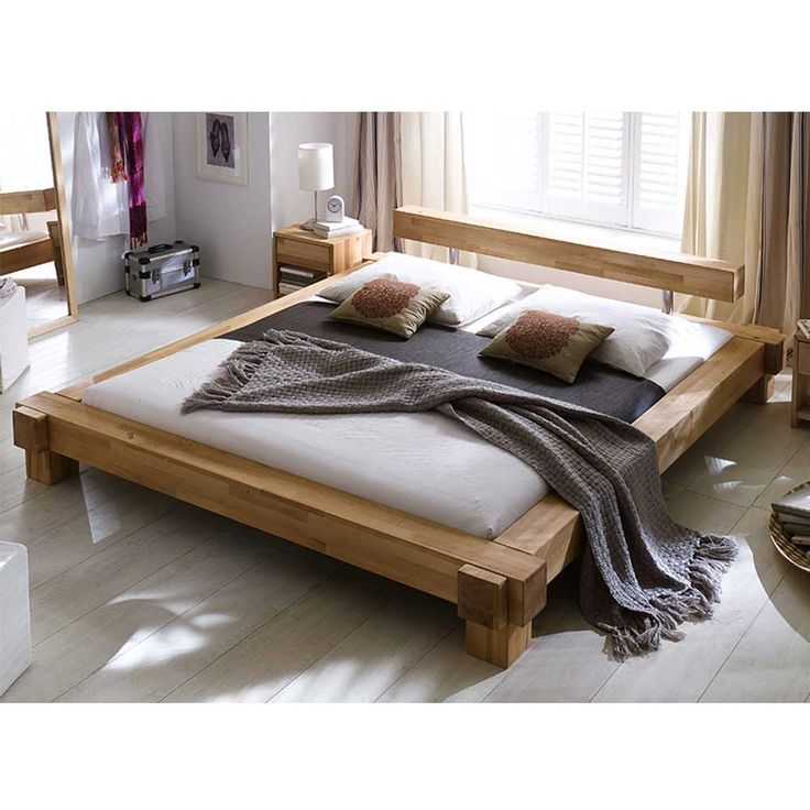 Balkenbett aus Kernbuche Massivholz 160x200 160x200 altholz - schlafzimmer bett 160x200