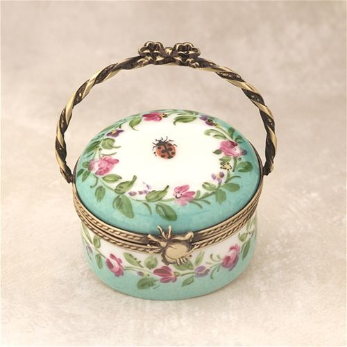 Limoges Green Basket with Ladybug Box The Cottage Shop