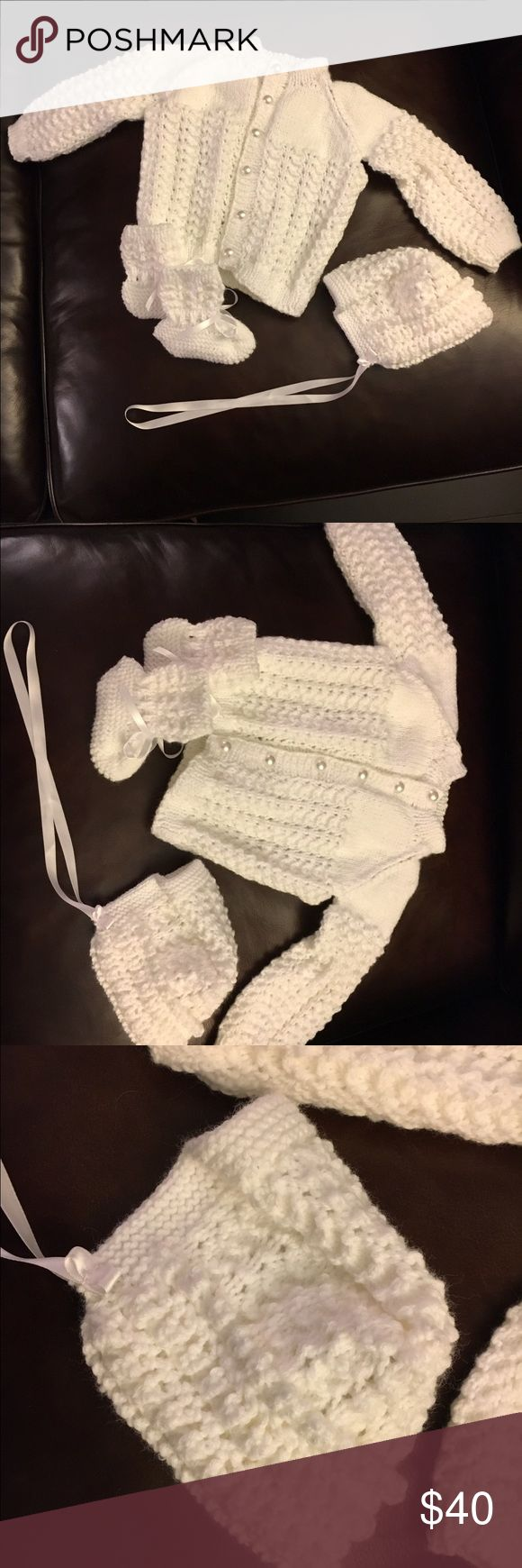 Brand new handmade crochet knit baby Sweater set Handmade white crochet knit baby sweater set. Matching Sets