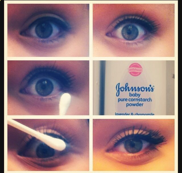 This looks interesting.  So a lot of girls ask me if my eyelashes are fake, no they arent. But theres the trick to making them look fake. 1. Apply the first coat of mascara. 2. Get a Q-tip and put some baby power on it. 3. Apply it to your eyelashes (this separates them really good) 4. Apply as many coats of mascara and repeat as much as you want. And get fake looking lashes for the day.