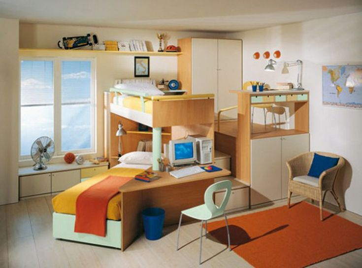Bedrooms,Attractive Kids Bedrooms Design Ideas With Double Wooden Loft Beds  And Unique Rattan Lounge Chairs Feat Light Brown Color Fur Rug U0026 Hickory  Wood ...
