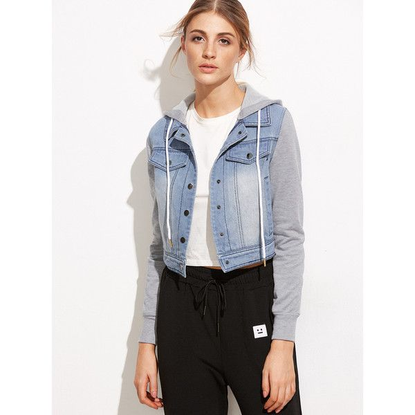 Blue Mixed Media Crop Hooded Denim Jacket ($35) ❤ liked on Polyvore featuring outerwear, jackets, blue, hooded denim jackets, blue cropped jacket, cropped jacket, hooded jacket and blue jean jacket