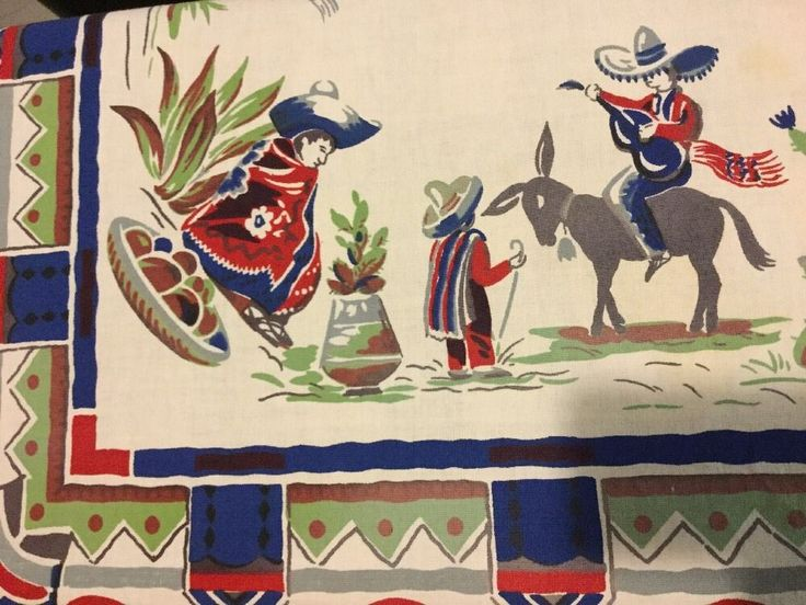 """Vintage tablecloth southwestern design, used , measures 50"""" x 51"""". Has a few small stains otherwise in very good vintage condition. 
