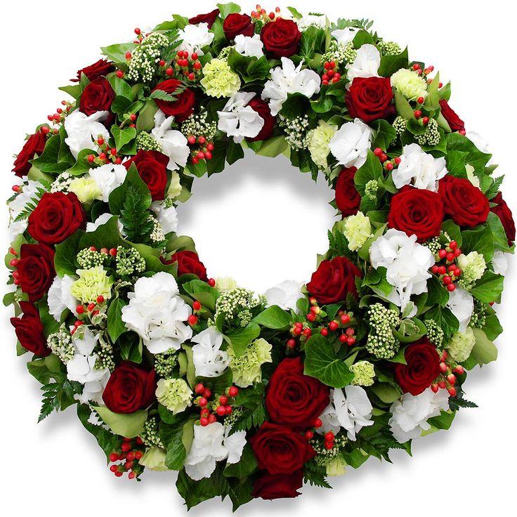 <3 Fleurs deuil - Couronne à plat Roses memoire