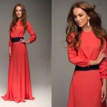 Длинное красное платье Sara