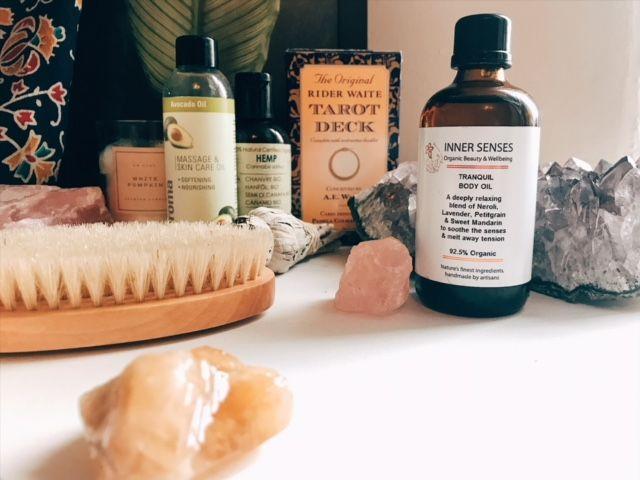 Body oiling with Inner Senses Tranquil Body Oil