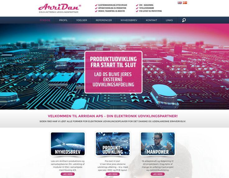 Til elektronikvirksomheden Arridan Aps, har vi bygget en flot hjemmeside i Wordpress, hvor Arridan på to sprog fortæller om deres ydelser og produkter. Siden er naturligvis bygget med responsivt og mobilvenligt design. #Webdesign #Wordpress