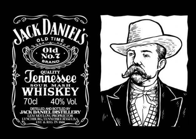 Archiwalne Jack Daniels Label Darmowych Wektorów