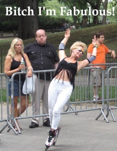"Rollerblade lady says ""Bitch I'm Fabulous!"""