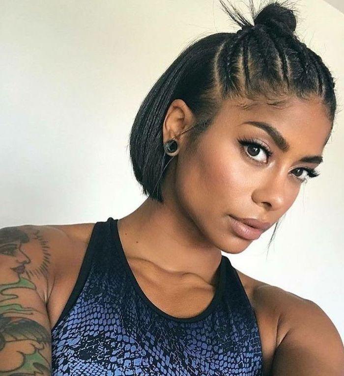 Tattoo Sleeve Braided Bun Straight Hair Blue Top Short Natural Haircuts For Black Women In 2020 Natural Hair Styles Short Hair Styles Hair Styles