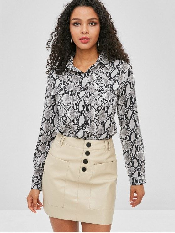 eab28e4fdd9 Snakeskin Print Buttoned Pockets Shirt in 2019 | Animal Print Outfit❤ |  Shirts, Snake skin, Animal print outfits