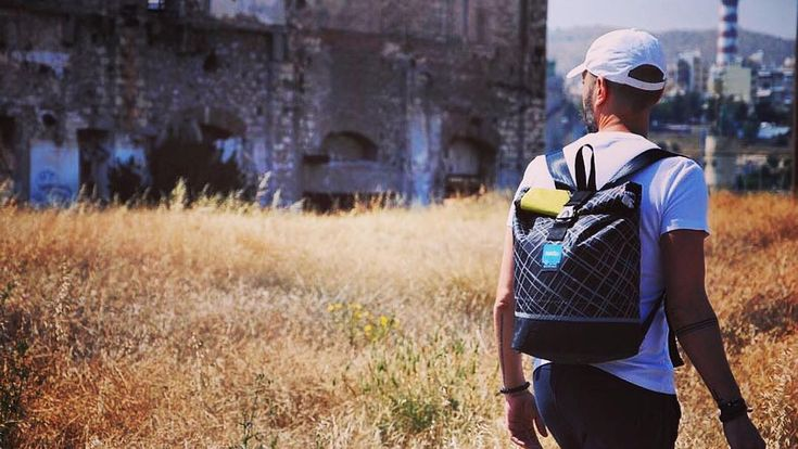 Explore your own city! Shot by @olgaggel Modelled by @dimitris_koukas #thinksea #backpack #reuse #recycle #unique #lightweight #urbanfashion #handcraft #summertime #madeingreece #paros #parosurfclub #windsurf #kiteboarding #sail #beachlife