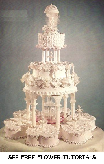 Big Wedding Cakes With Fountains   Fresh Flower Wedding Cakes