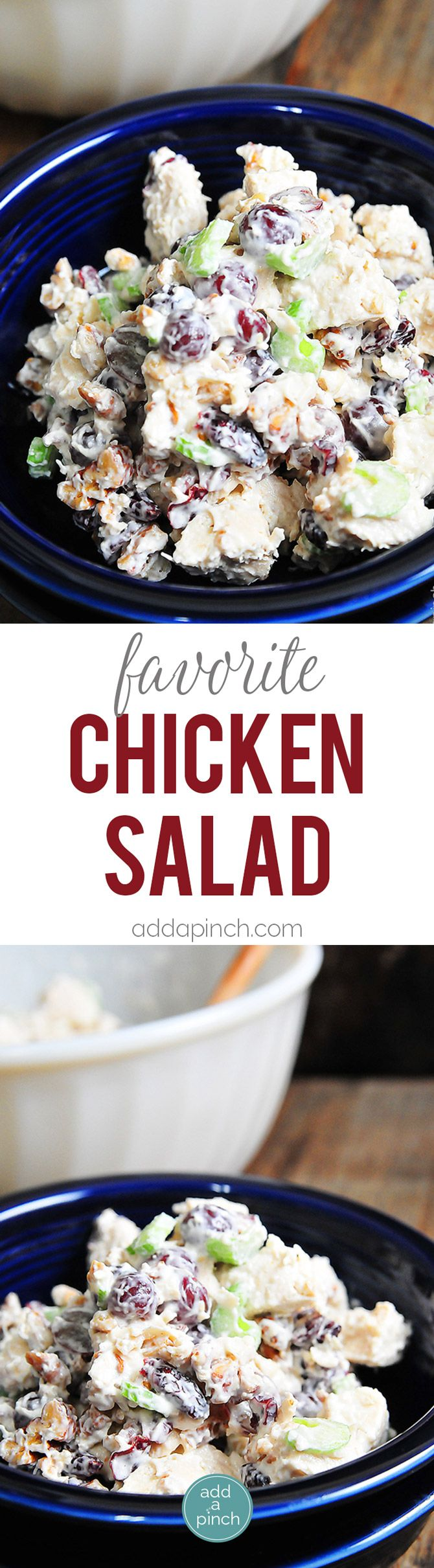 Chicken Salad Recipe - This chickens salad recipe makes a delicious, quick meal. Made with chicken, grapes, and roasted nuts, it is always a favorite! If you wish you can make this with Greek yogurt instead of mayo to lighten this up a bit. It is most definitely one of my go-to favorites! // addapinch.com