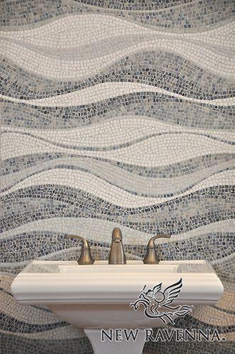hand chopped marble mosaic backsplash (by New Ravenna Mosaics) [bathroom mosaic]