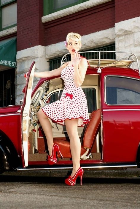 The lady, the look, the outfit, the hair, the shoes, the car... I love everything about this