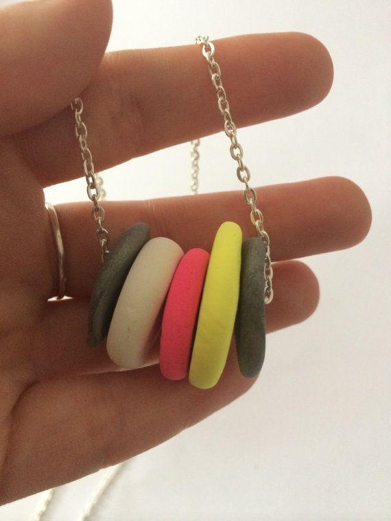 Polymer clay necklace with circular disks by BillyandElizabeth, $15.00