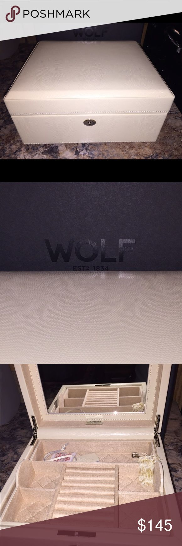 Wolf Jewelry Box Brand new in box. Has lock and key. Gorgeous ivory leather wolf Other