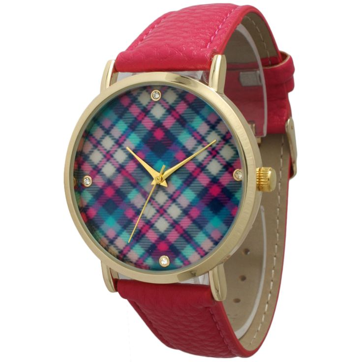This watch is very stylish and trendy featuring a plaid print on the face of the watch. The watch also features gold hardware, which nicely complements the whole look of the watch. The band of this wa