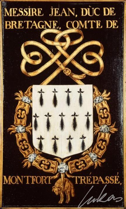 """(39) Jean V, duc de BRETAGNE, comte de Montfort (1390-1442) -- """"Messire Jean, duc de Bretagne, comte de Montfort. Trépassé"""" -- Armorial plate from the Order of the Golden Fleece, painted by Pierre Coustain, 1445, Saint Bavo Cathedral, Gent -- Panneau de trépassé."""