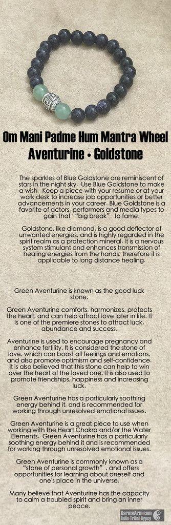 MANTRA: My dreams are my future reality. - 8mm Natural Green Aventurine Gemstones - 8mm Blue Goldstone Round Gemstones - Tibetan Silver Om Mani Padme Hum Prayer Wheel - Commercial Strength, Latex-Free