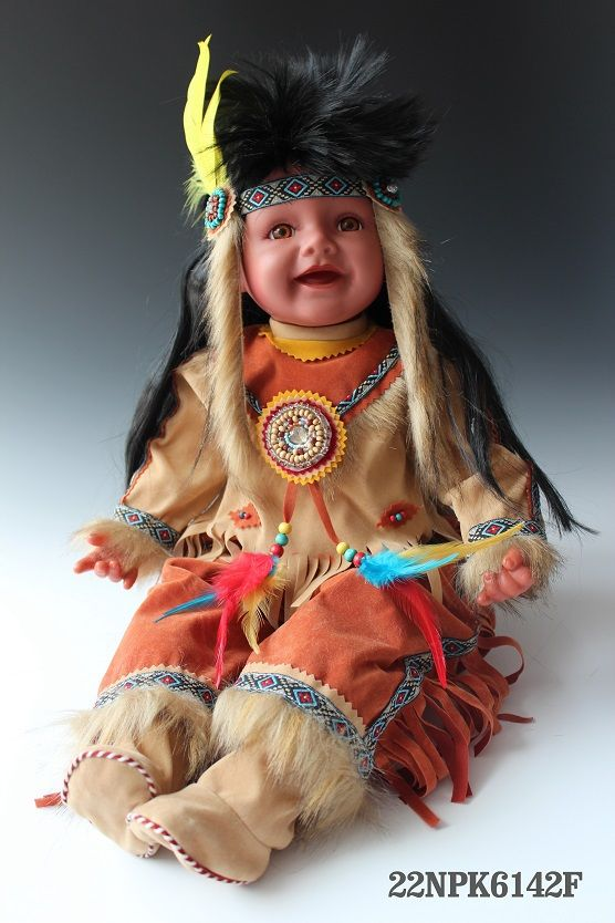 12 Inches Porcelain Toddler Indian Costume Native American