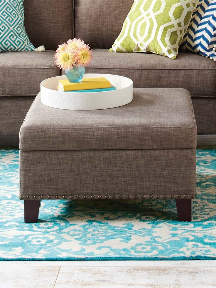 Better Homes and Gardens Grayson Linen Square Ottoman with Nailheads