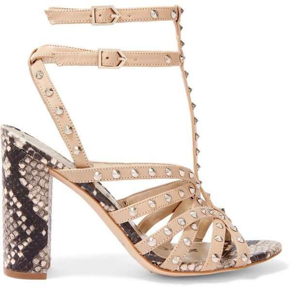 Sam Edelman - Yadria Studded And Snake-effect Leather Sandals (4.235 RUB) ❤ liked on Polyvore featuring shoes, sandals, beige, strappy high heel sandals, beige strappy sandals, high heel sandals, peep toe sandals and strap sandals