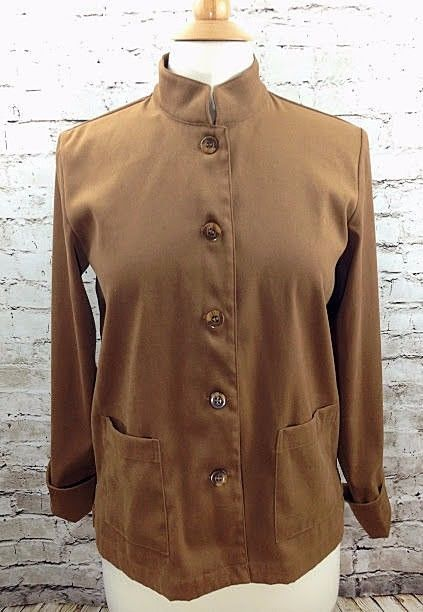 Coldwater Creek Womens PS Petite Small Brown Suede Like Shirt Button Down Front #ColdwaterCreek #ButtonDownShirt #Casual