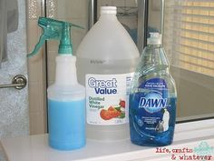 Tub Cleaner - vinegar and dish soap, no scrubbing! Heat 1/2C white vinegar in m'wave for 90 sec, pour int spray bottle. Add 1/2C BLUE Dawn dish soap. Shake gently to mix. Spray on surface, let it sit 1-2 hours. Just wipe it away then rinse with water. Should also take soap scum off shower doors!