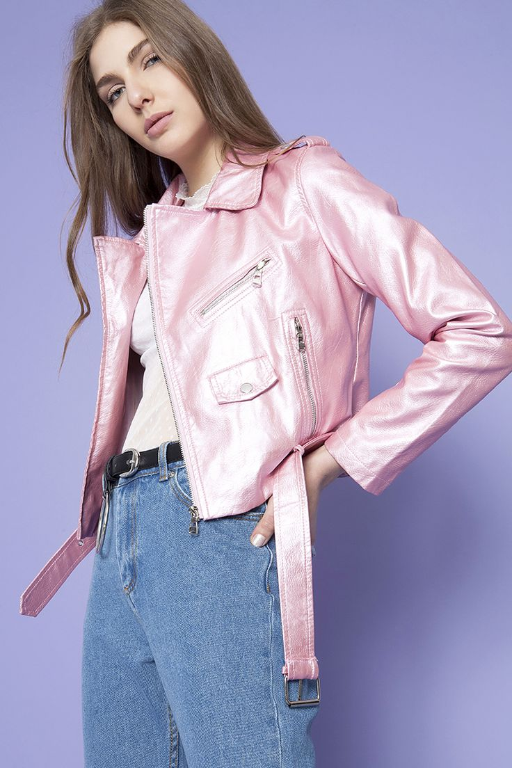 Pink Metallic Biker Jacket | Για αγορά πατήστε πάνω στην εικόνα