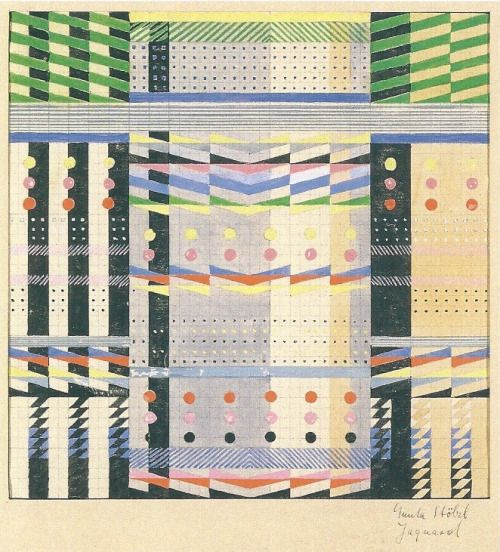 phileas69:  Gunta StölzlProjet de tenture murale en Jacquard / Design for wall hanging in the Jacquard techniqueGouache sur papier millimétré / Gouache on graph paper26.7 x 27.3cm1927-1928(plus de / more by Gunta Stölzl)