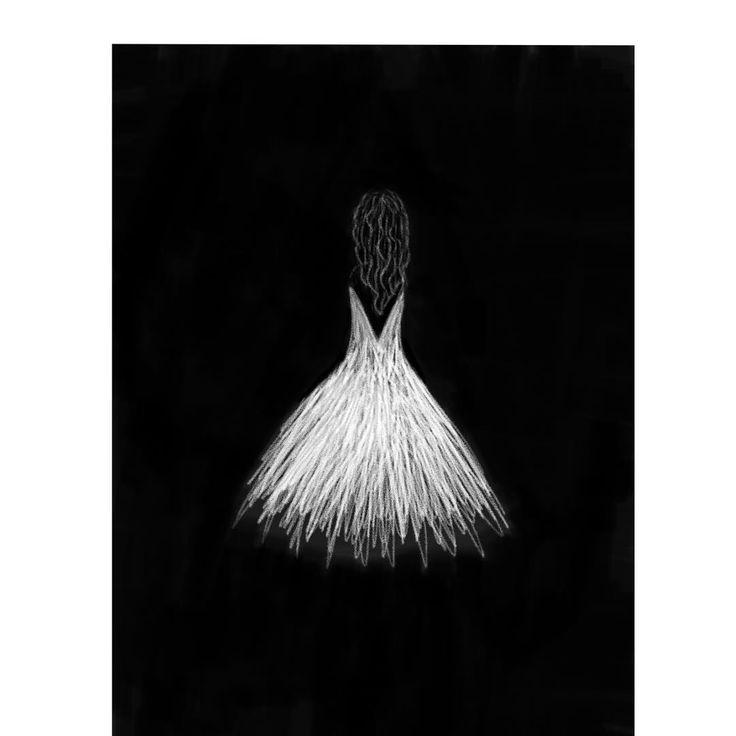 "Hajar on Instagram: ""#bright in #dark #white in #black #drawing #sketch #iphonenotes #iphonenotesart #illustration #iphonenotesketch #iphonenotesdrawing #dress"""
