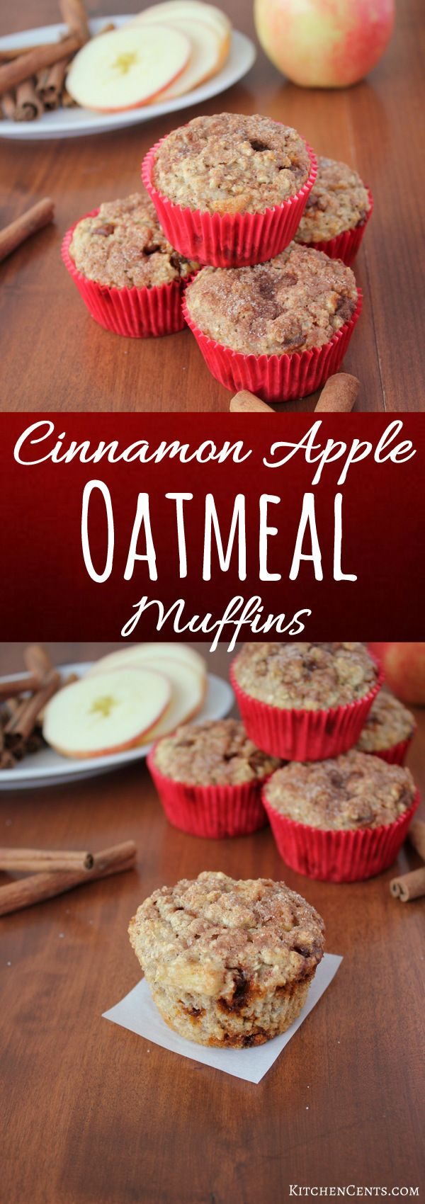Cinnamon Apple Oatmeal Breakfast Muffins | KitchenCents.com Warm and inviting, these quick and easy Cinnamon Apple Oatmeal Breakfast Muffins are loaded with heart-healthy oats, chunks of apple and bursts of cinnamon.