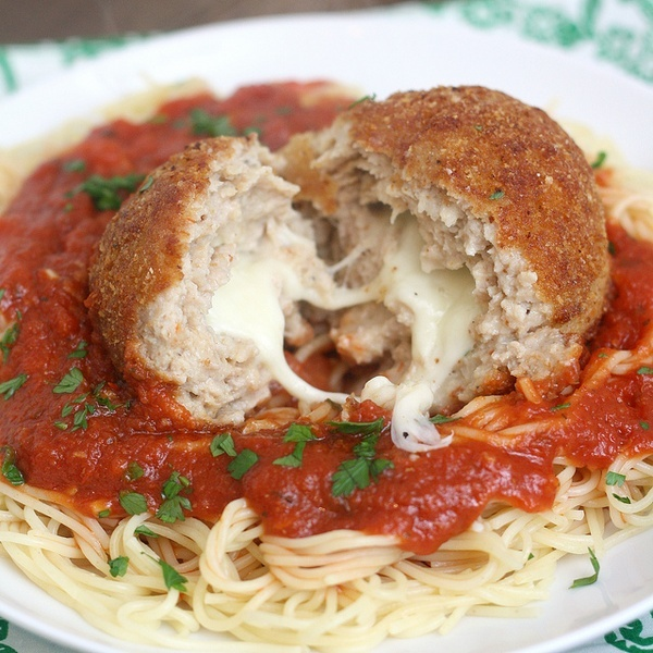 Cheesy Chicken Parm Meatballs | Food | Pinterest