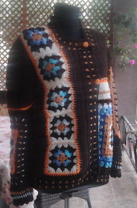 Women Jacket Cardigan Sweater in Granny by AnnesMagicCrochet