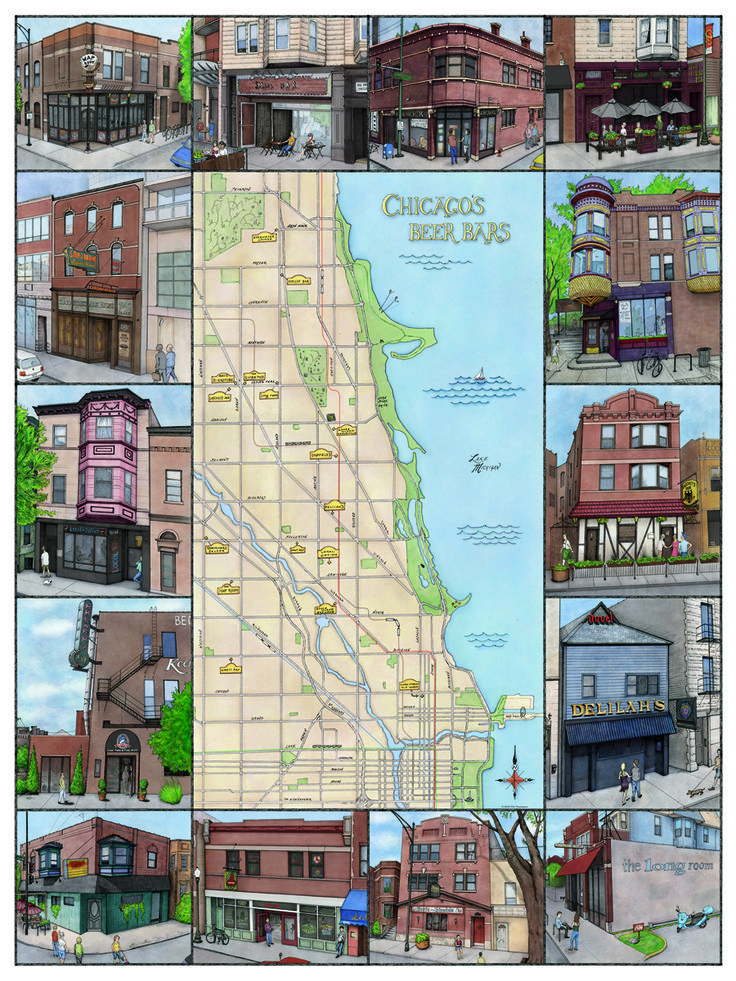 Items similar to Chicago Beer Map Illustrated