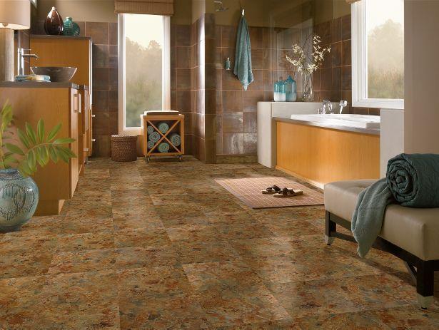 Vinyl That Looks Like Slate Tile But With Zero Maintenance Padera Patina Shale Bathroom Vinylbathroom Flooringkitchen