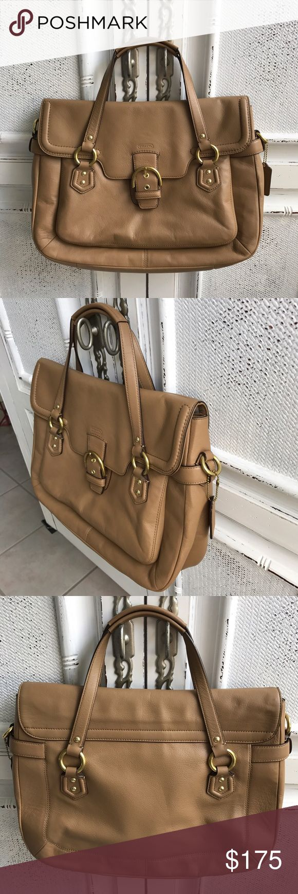 """❤COACH CAMPBELL LEATHER EVA FLAP SATCHEL❤ Made in USA, gorgeous smooth camel leather. Double leather handle 3"""" drop, no shoulder strap. Leather inside zip, cell phone and multifunction pockets. Brand new, used once pen mark in inside zip pocket (shown in pict) you would never see this. Perfect condition. STEAL😍 Coach Bags Satchels"""