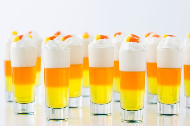 Whip up some Candy Corn Jello Shots this Halloween.