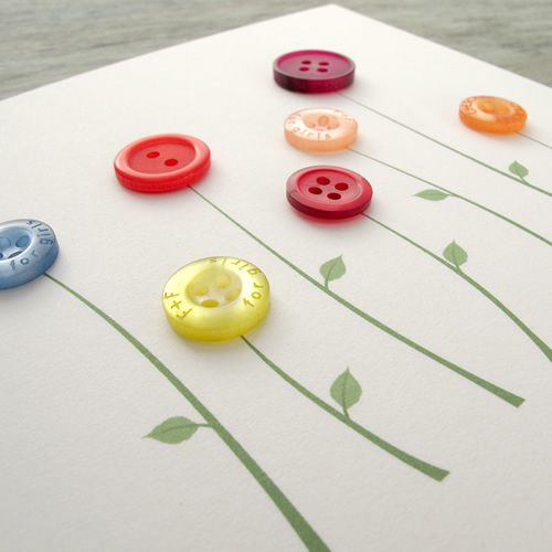 Flowers button card - Milomade