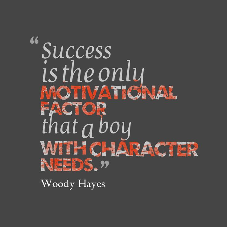 Success is the only motivational factor that a boy with character needs – Quote