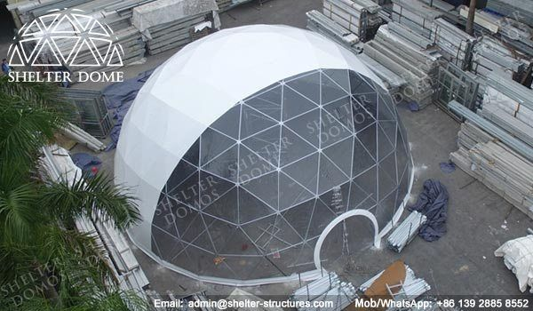 Steel frame dome house - Custom geodesic domes for events - Half clear geodesic dome tents - PVC geodesic dome structures with transparent front - Fabric domes for corporate events - Shelter Dome (2)