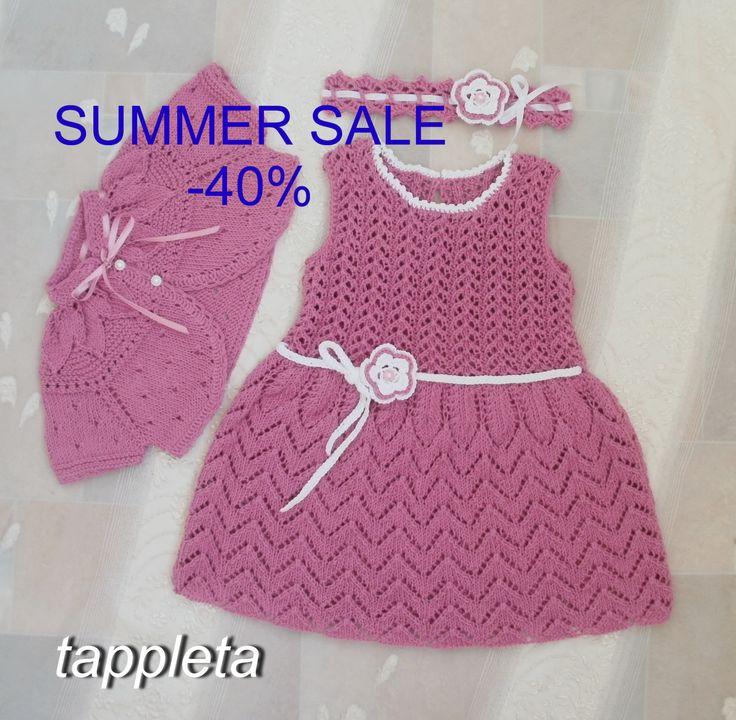 Платье, болеро и повязка для девочки на 1 год, день рождения, комплект, наряд для крещения, розовый, вязанное платье на лето, хлопок, by tappleta on Etsy